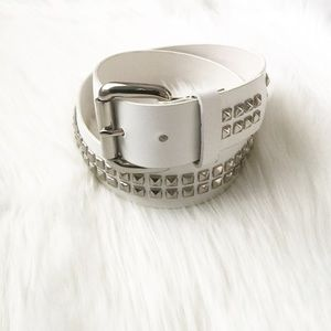 Accessories - White Bonded Leather Studded Belt